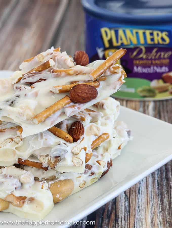 White chocolate pretzel nut bark