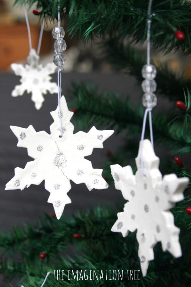 White clay and and silver glitter ornaments