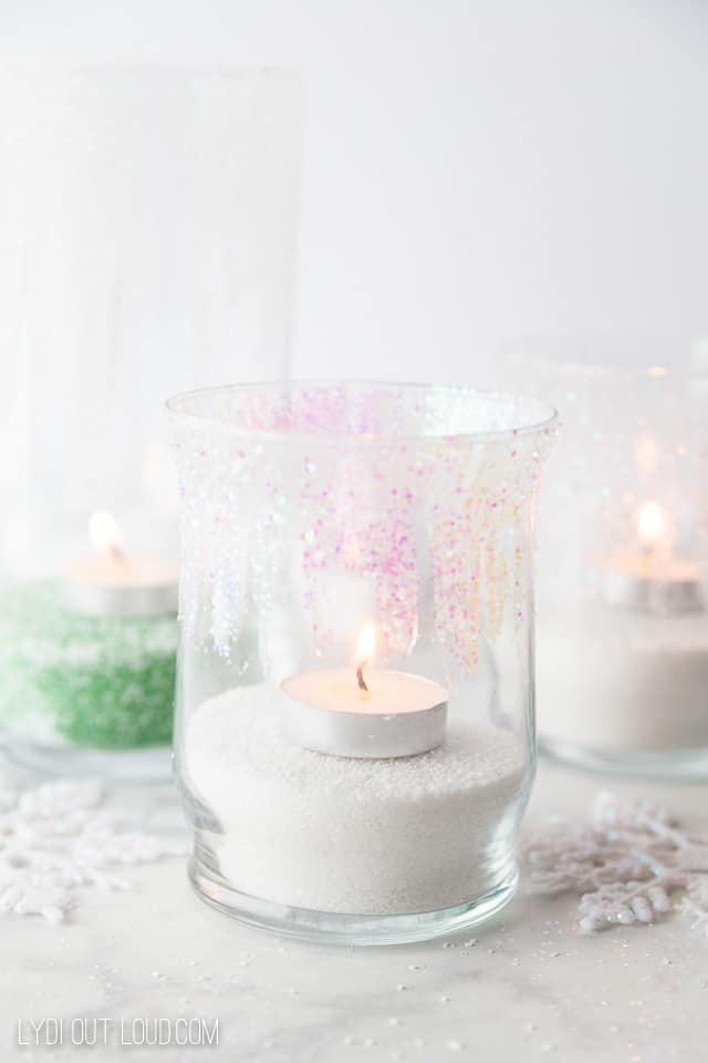 Winter glitter candle holders