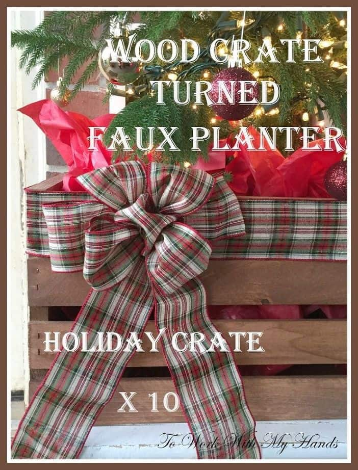 Wood create and plaid ribbon faux planter