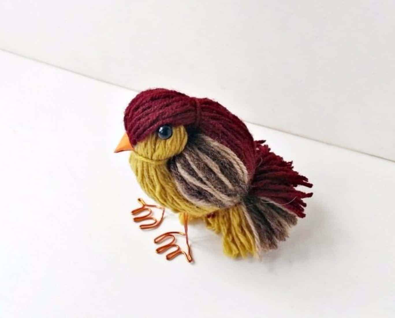 Yarn and wire bird
