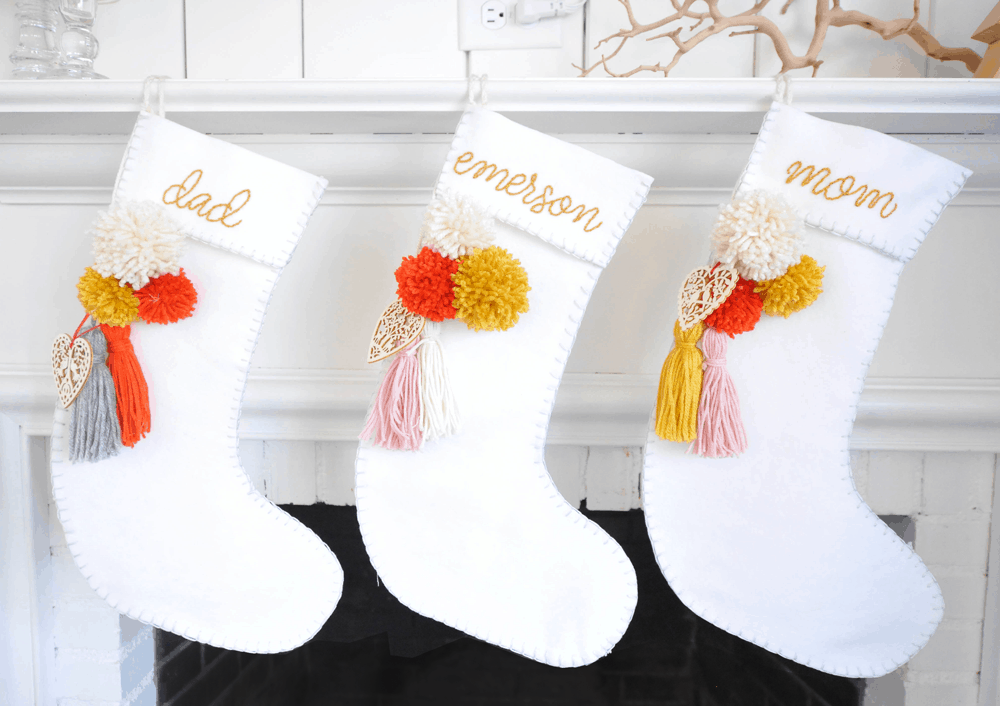 Yarn pom pom and embroidery stockings