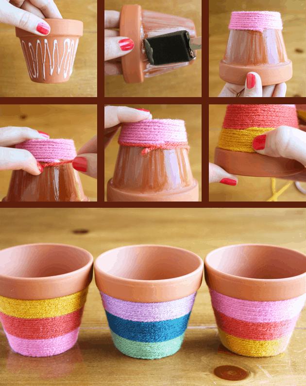 Yarn wrapped flower pots