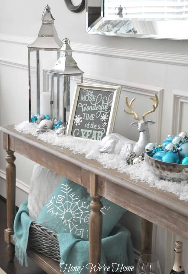 Blue holiday decor in the foyer