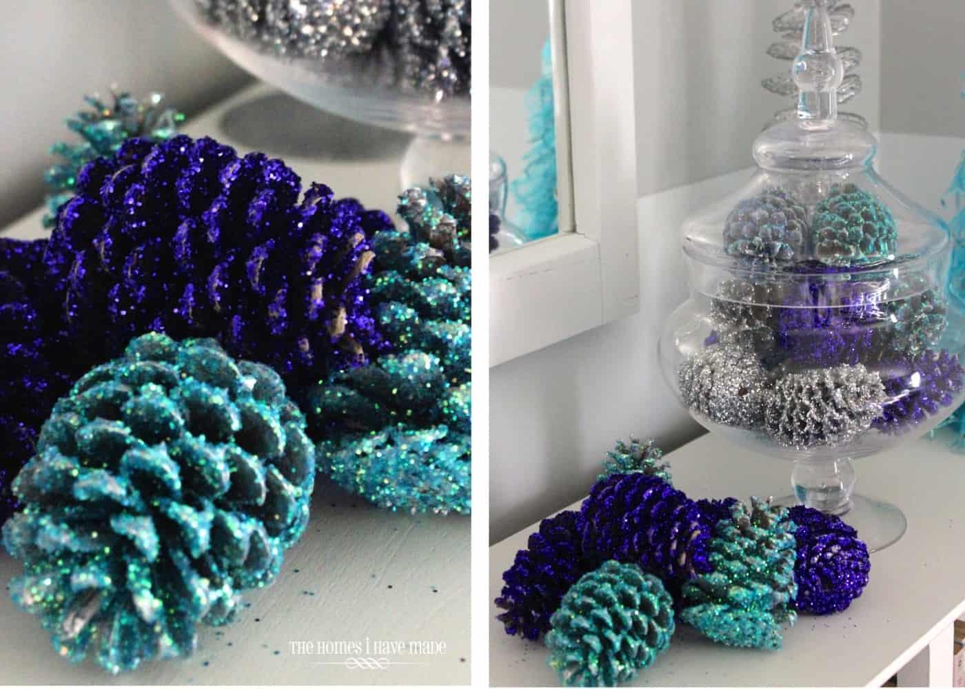 Blue pinecones diy