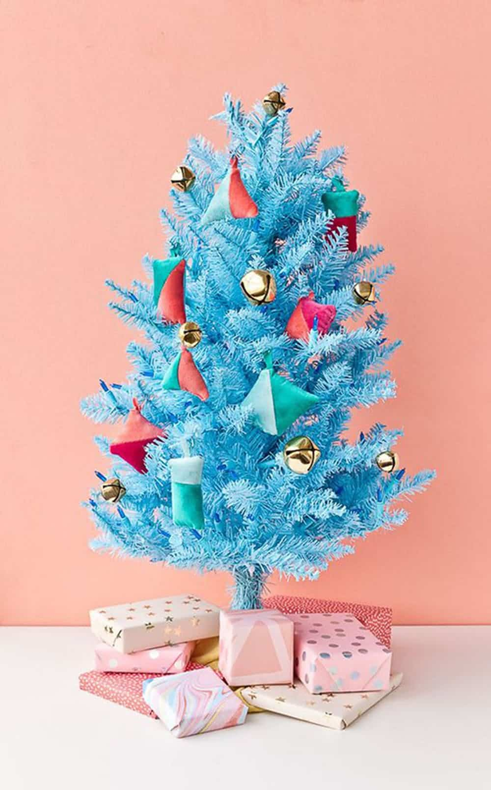 Blue tree with diy ornaments