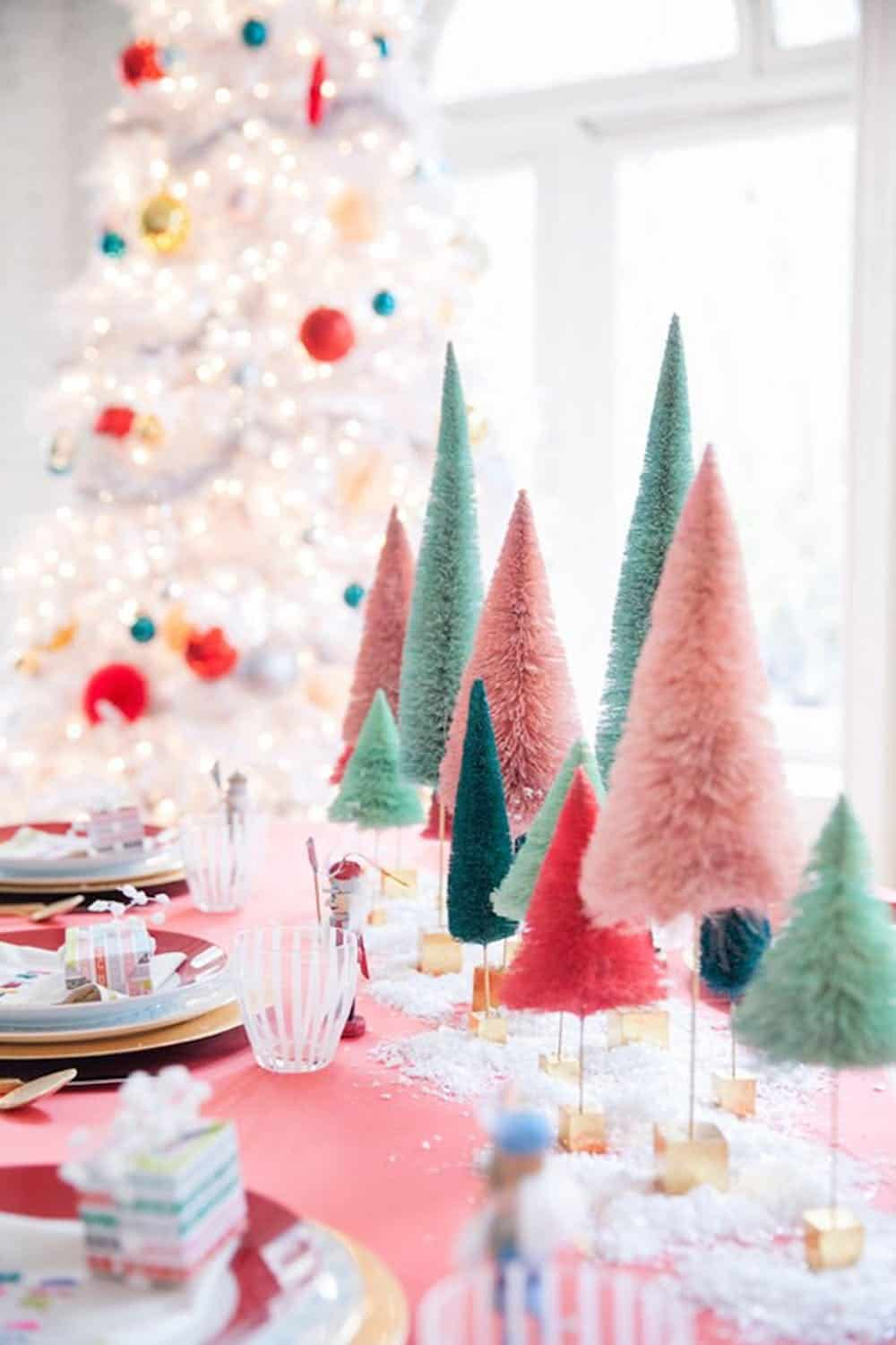 Bottle brush tree centerpiece