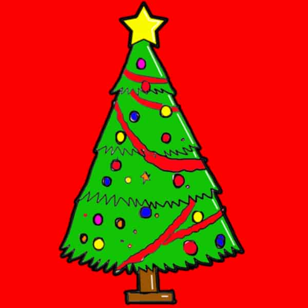 Cartoon christmas tree drawing diy