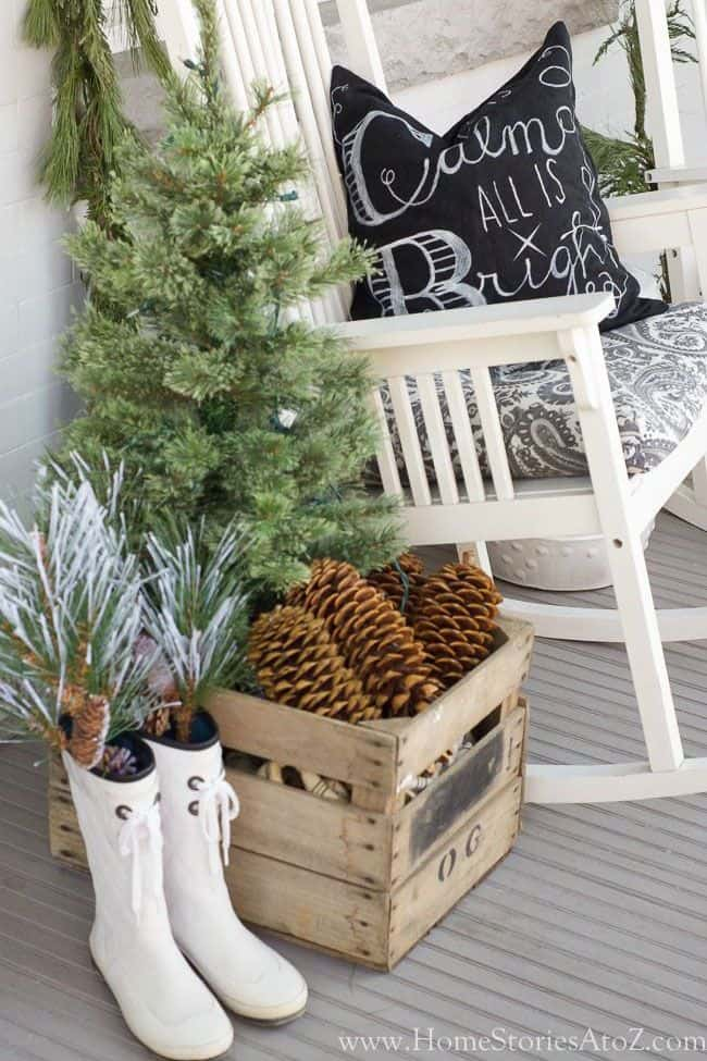Christmas decorating ideas for the porch with rainboots