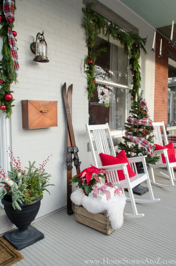 Christmas porch decorating with skiis