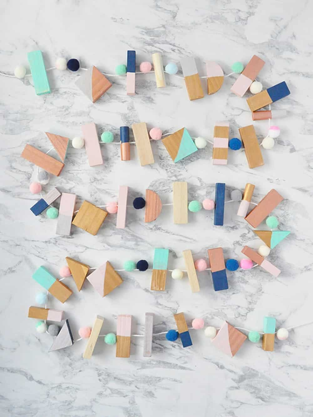 Colorblock wooden garland