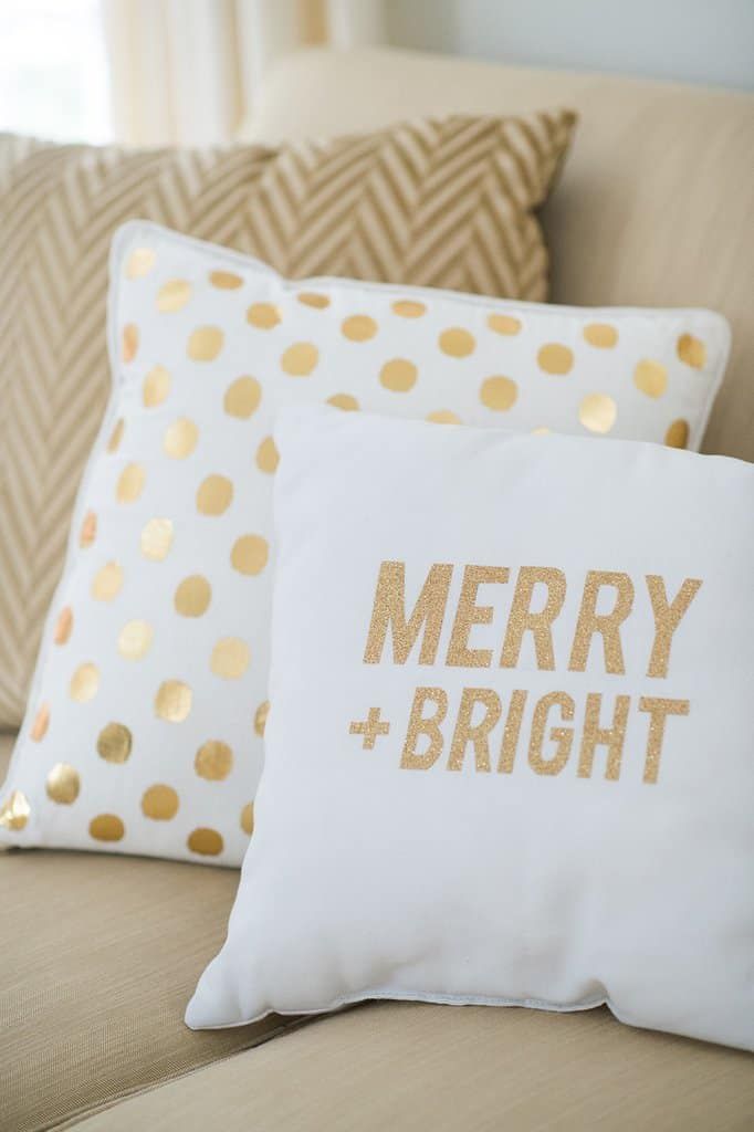 Diy christmas gold throw pillows