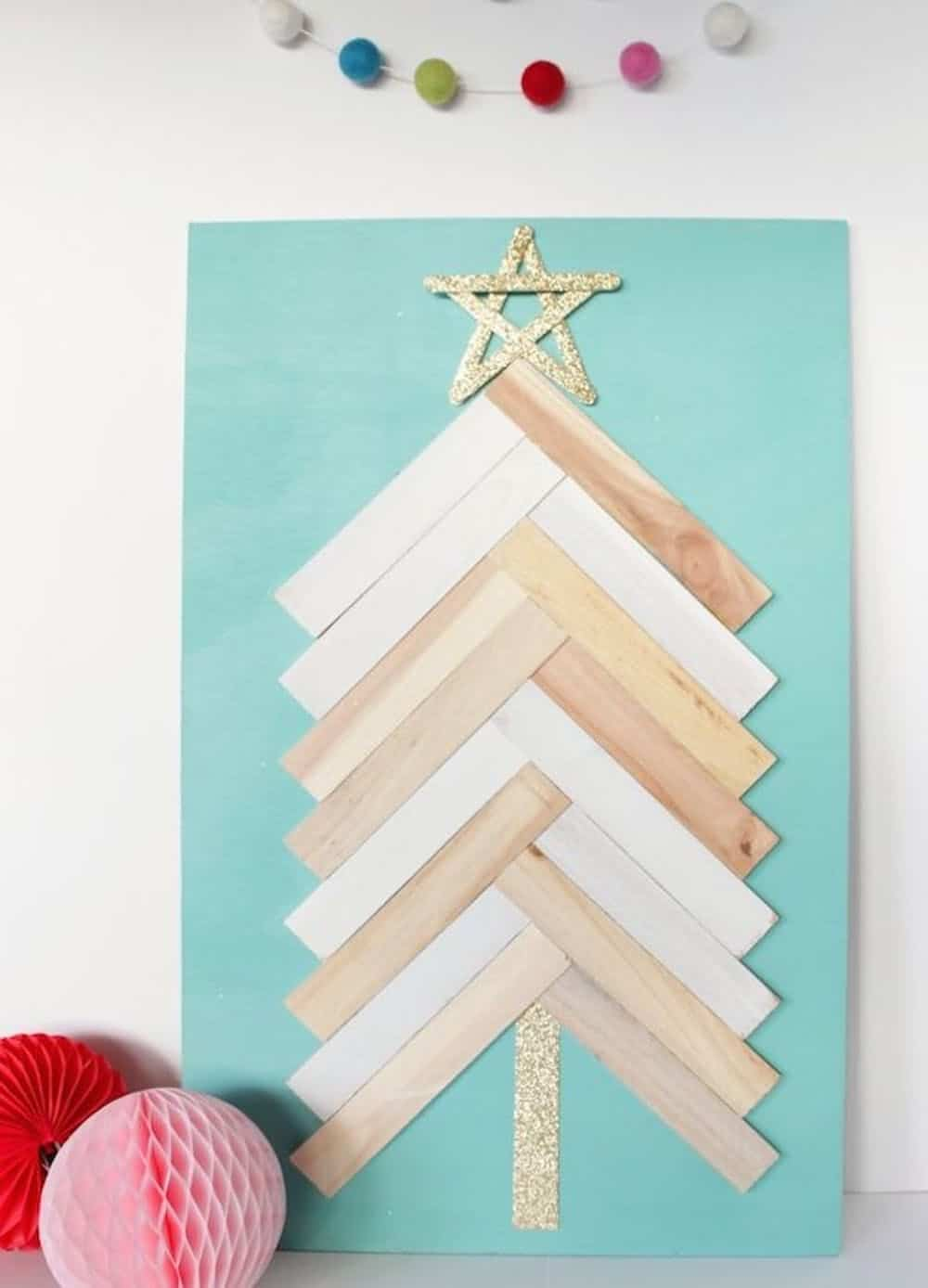 Diy christmas tree wall art with wood