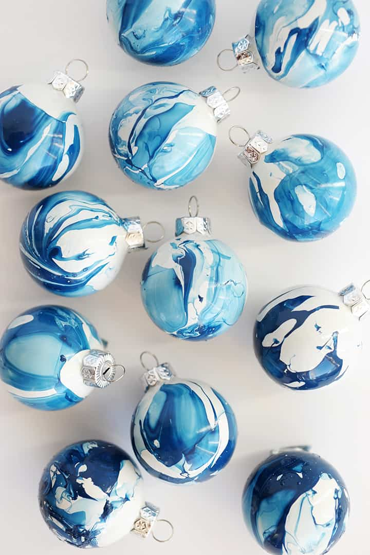 Diy indigo marbled ornament