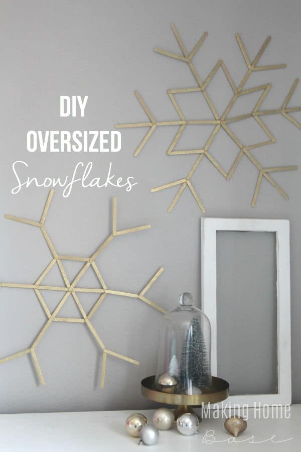 Diy oversized snowflakes for the wall