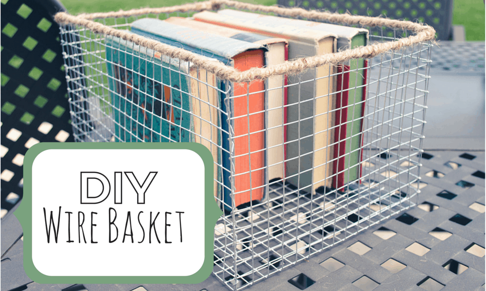 Diy wire basket with rustic twine