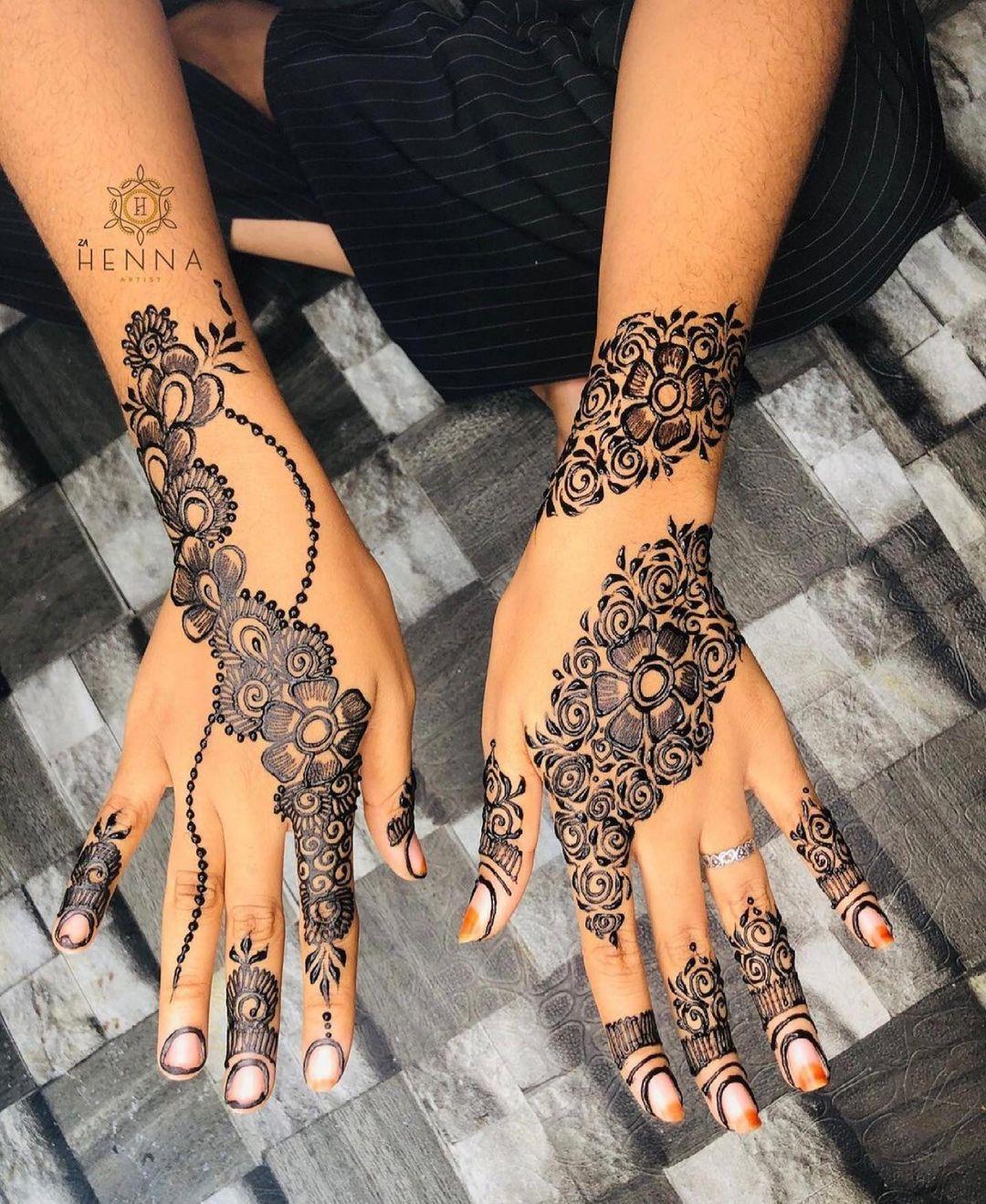 Floral Hands Henna Tattoo