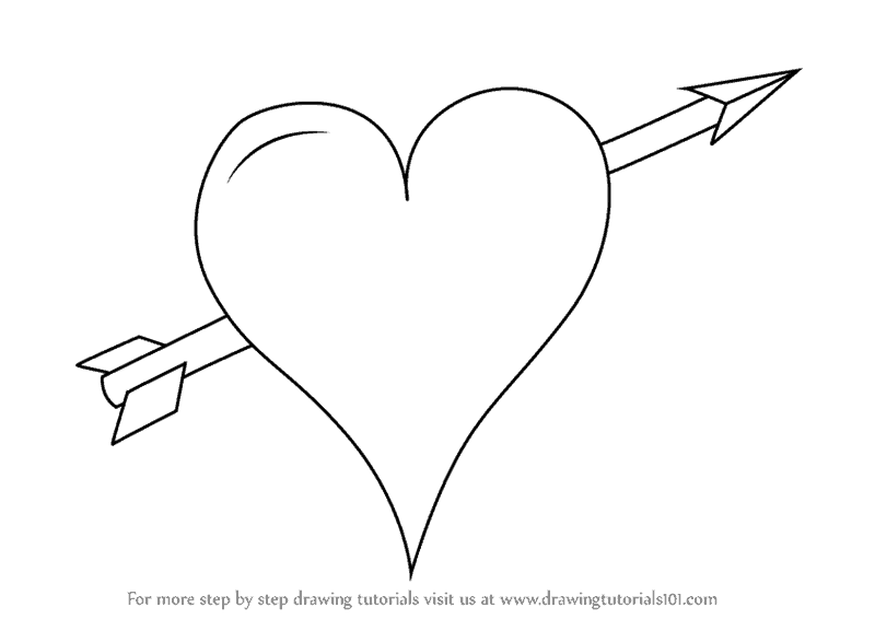 How to draw heart with arrow
