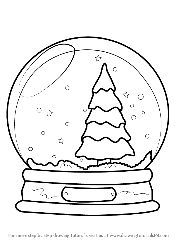 How to draw snowglobe with christmas tree step 0