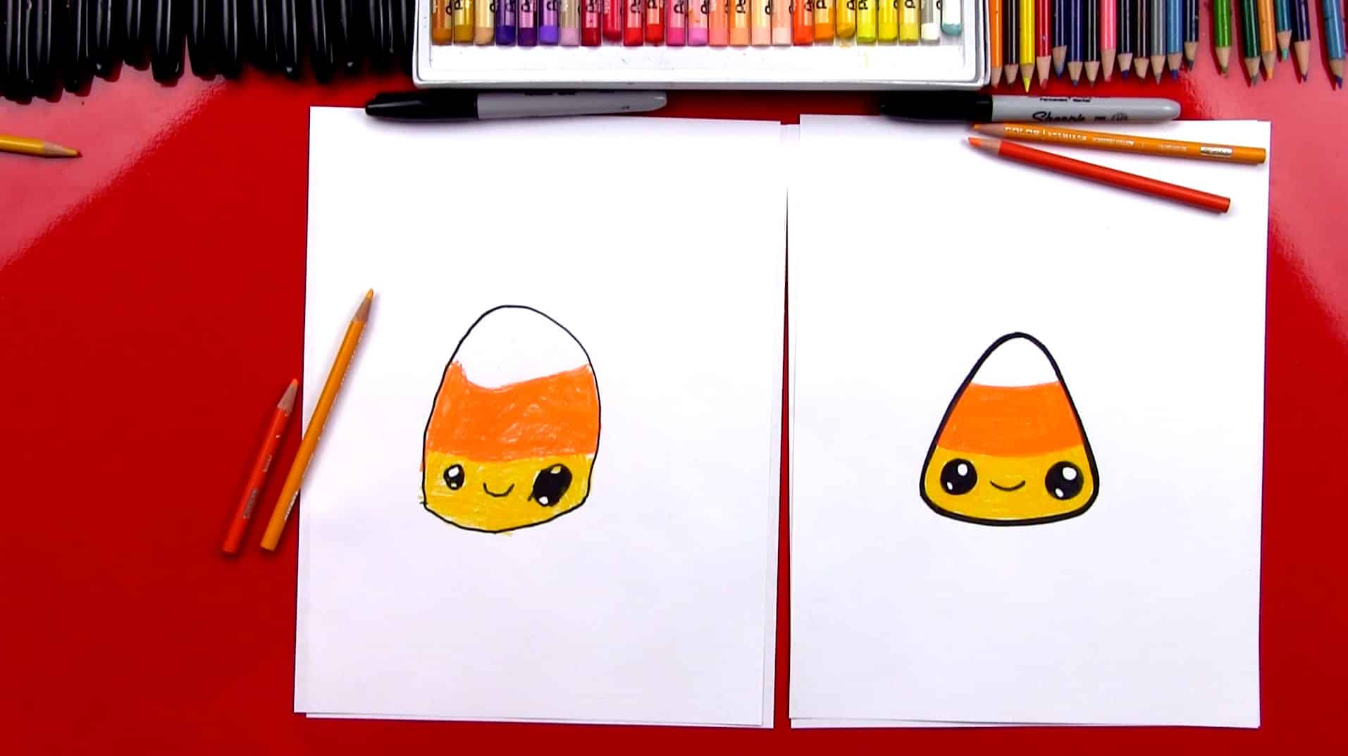 How to draw a candy corn feature
