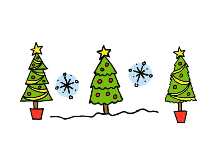 How to draw a christmas tree four ways
