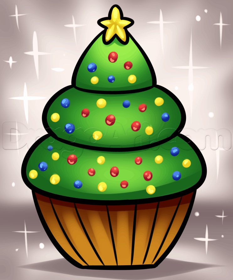 How to draw a frosted cupcake christmas tree