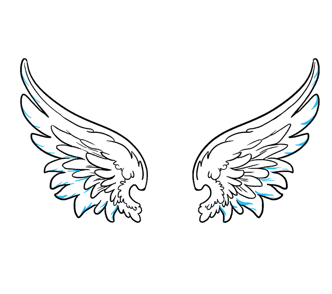 How to draw angel wings