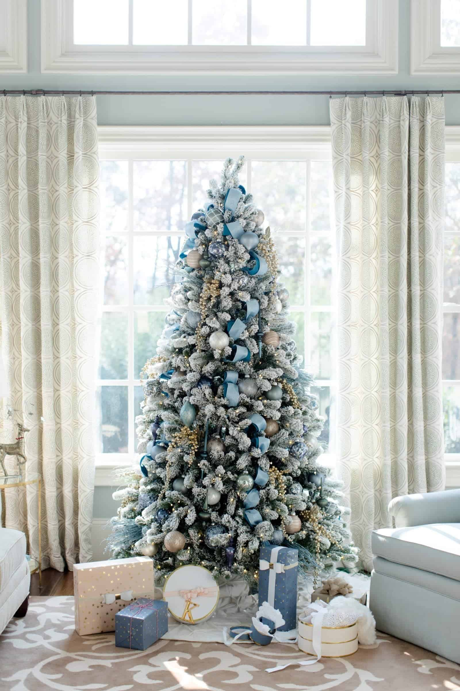 Muted blue christmas living room