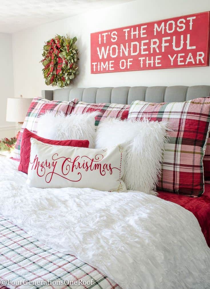 Plaid christmas bedroom