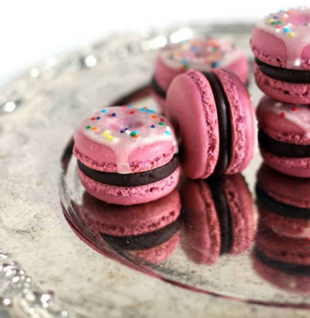Raspberry chocolate macarons