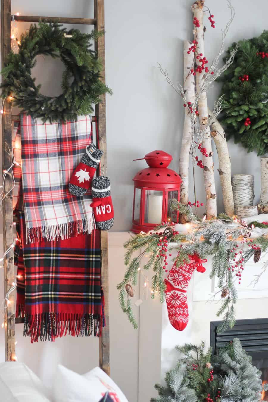 Red and green mantle decor