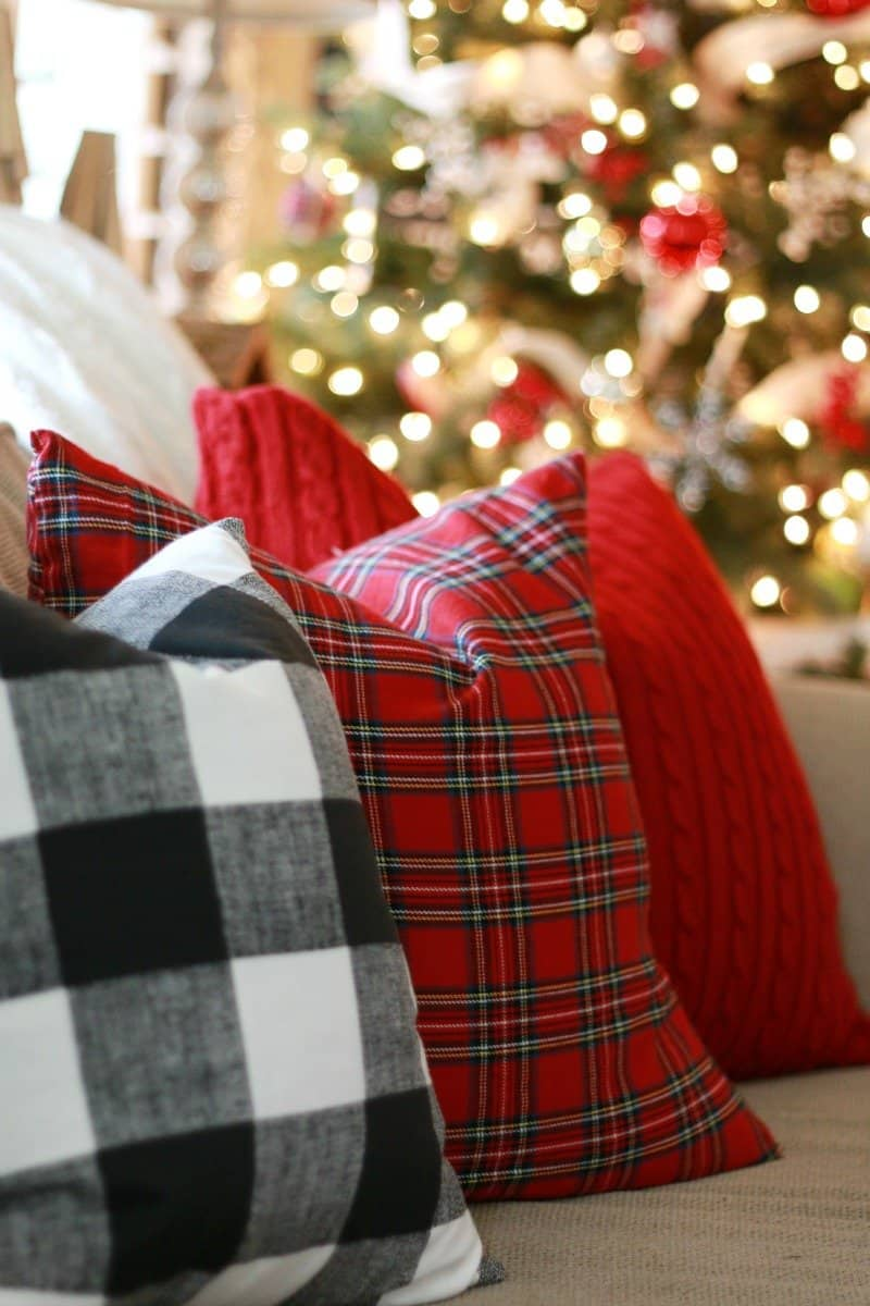 Red plaid throw pillows