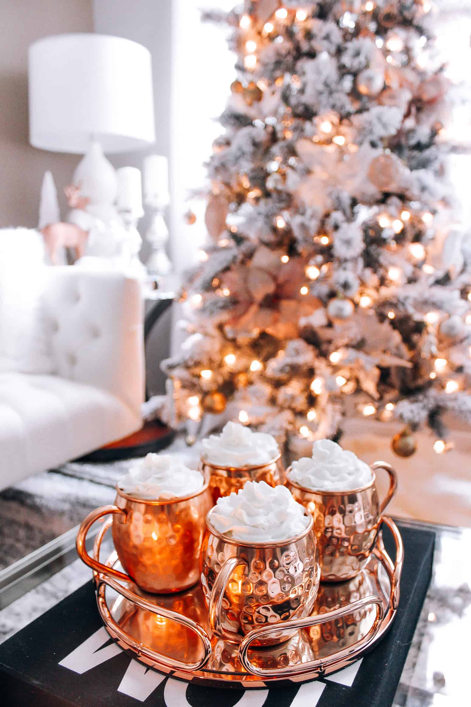Rose gold christmas decor