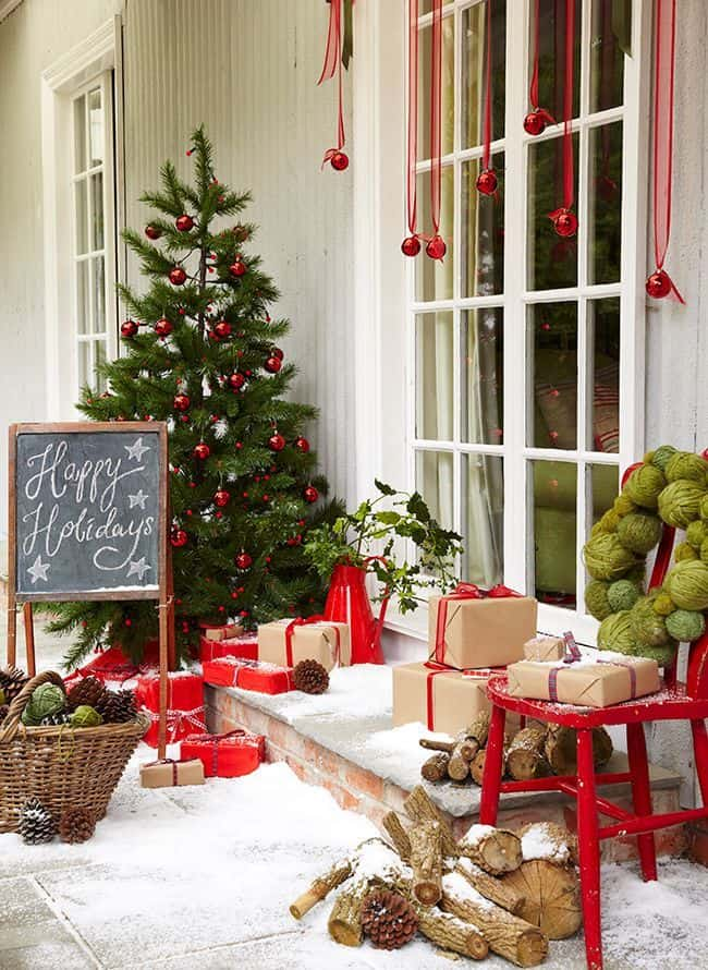 Snow covered porch and presents idea