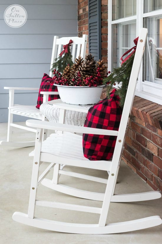Textural front porch for christmas