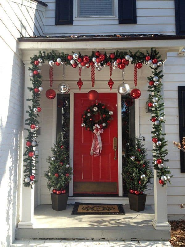 Traditional red and green christmas porch