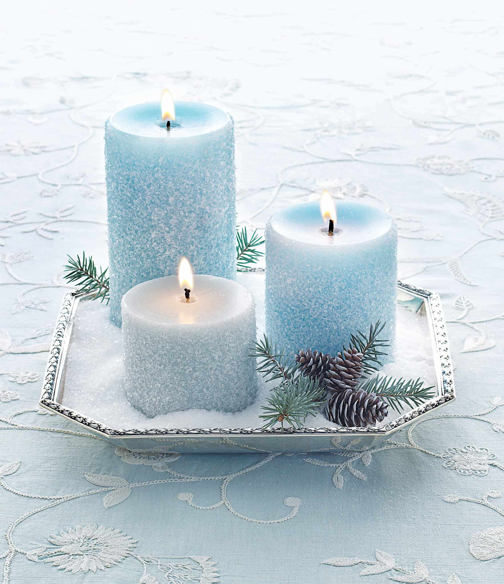 White blue glitter candles