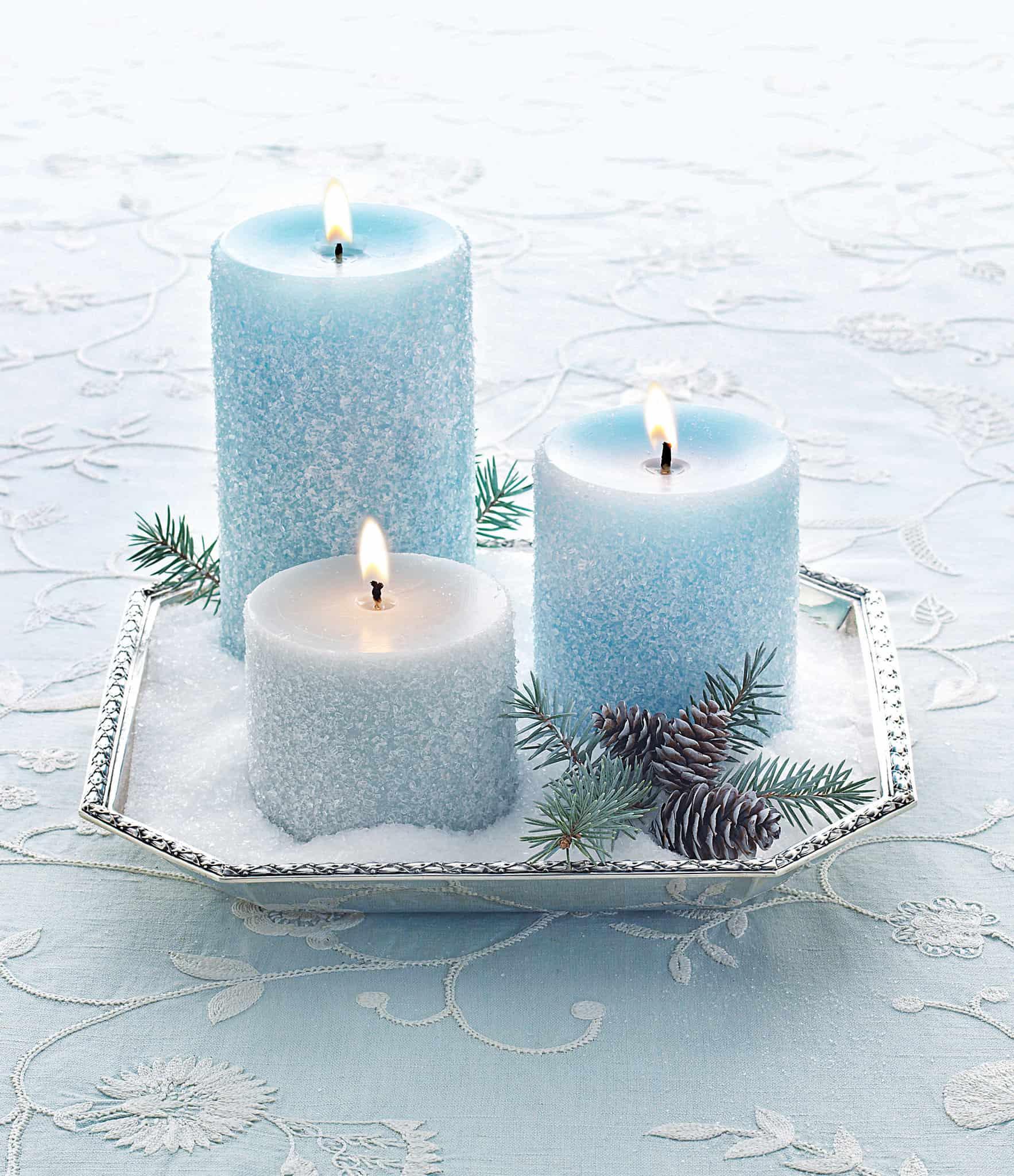 White blue glitter candles