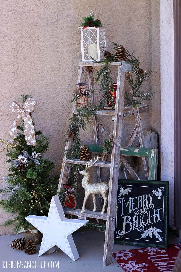 Wooden ladder christmas porch decor ideas