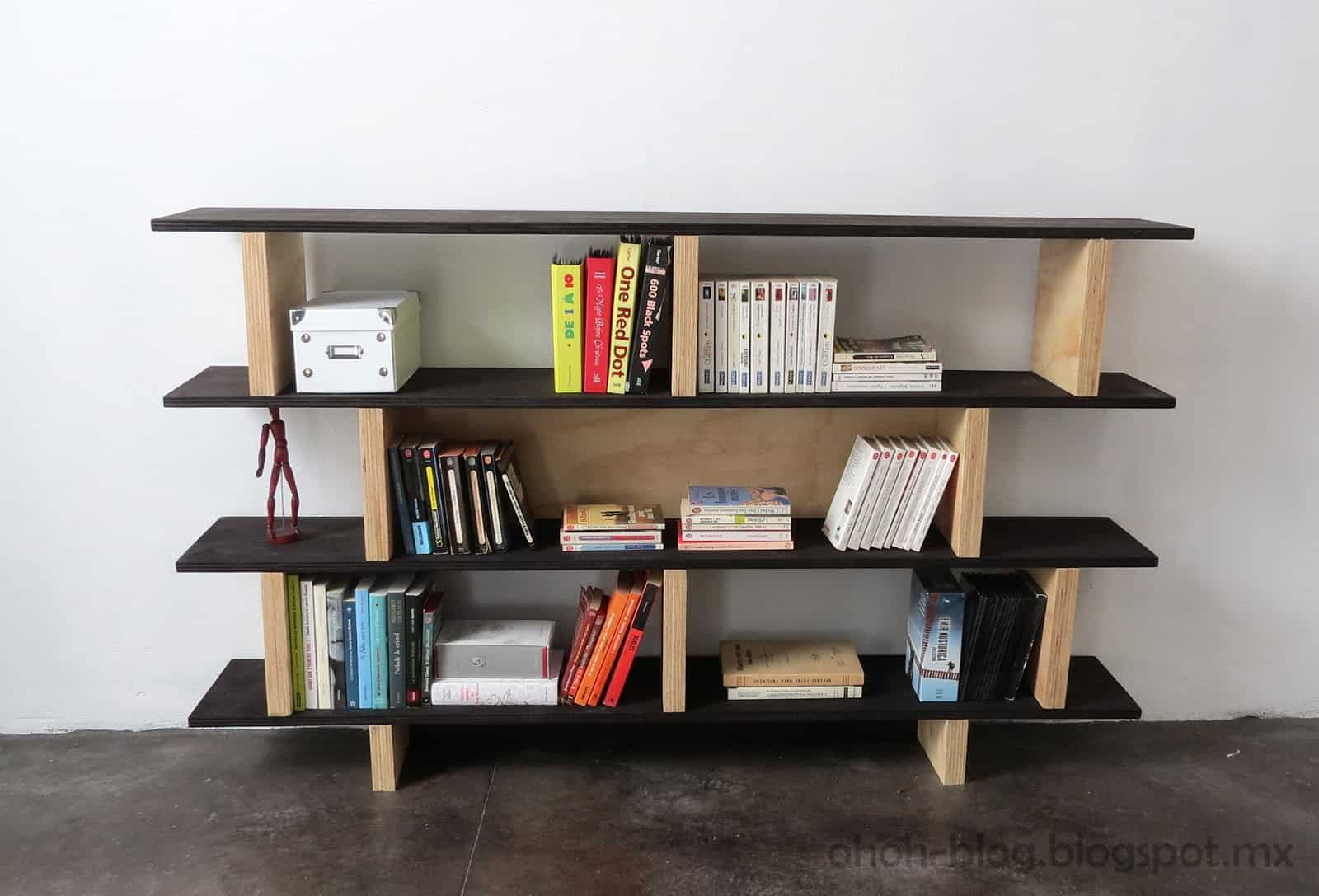 Black and blonde wood bookcase