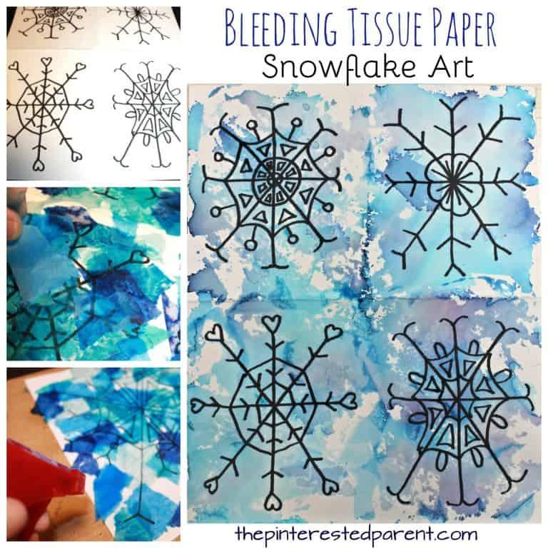 Bleeding tissue paper snowflakes