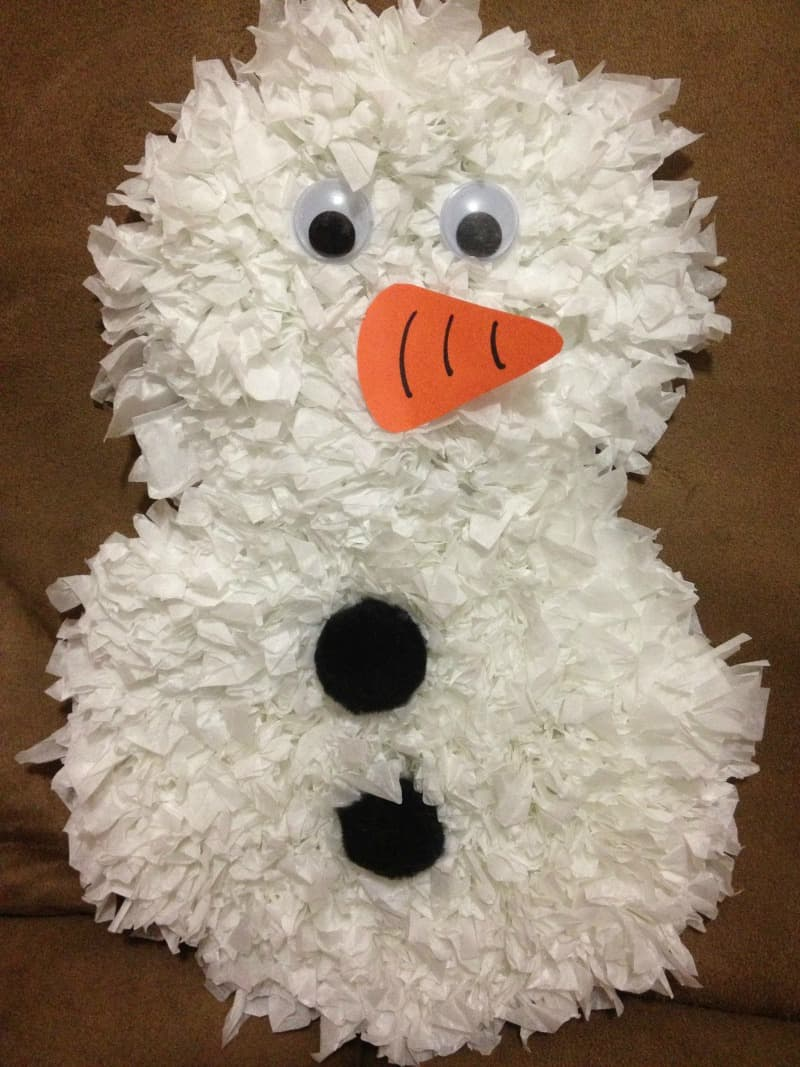 Bunched tissue paper snowman