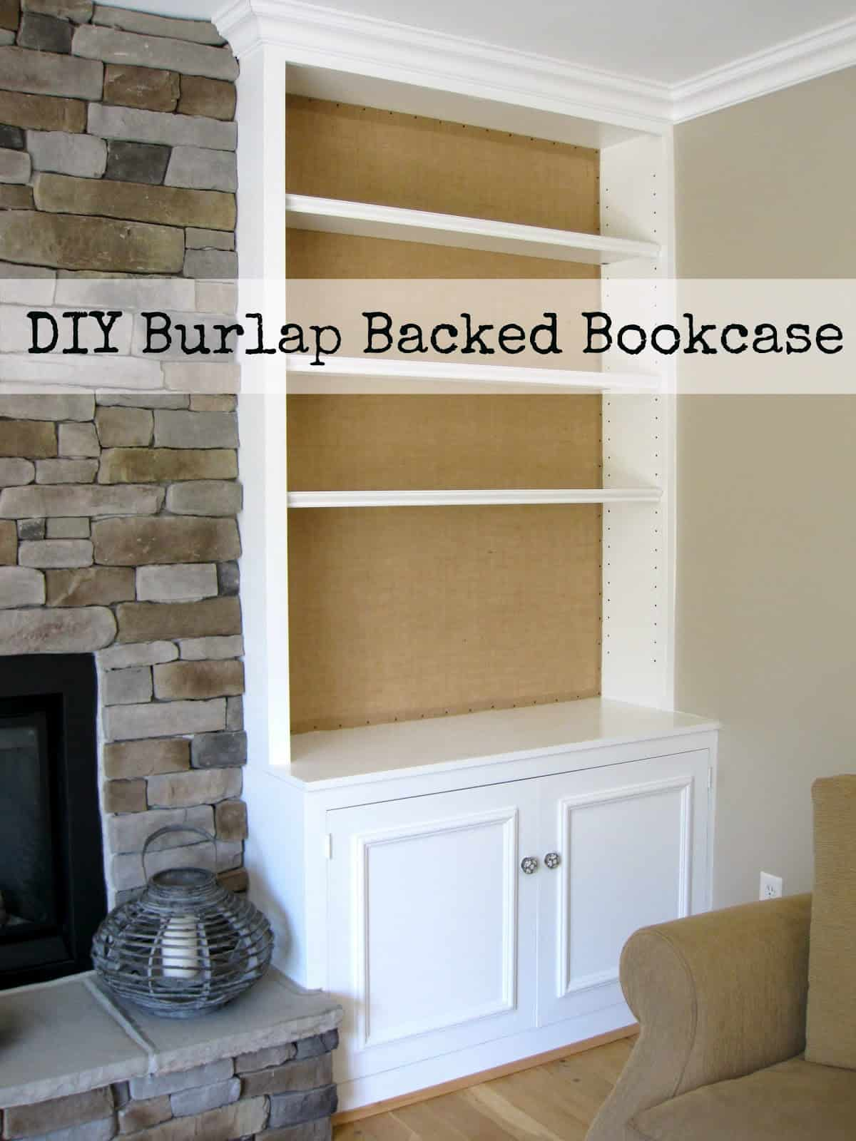 Burlap backed bookcase