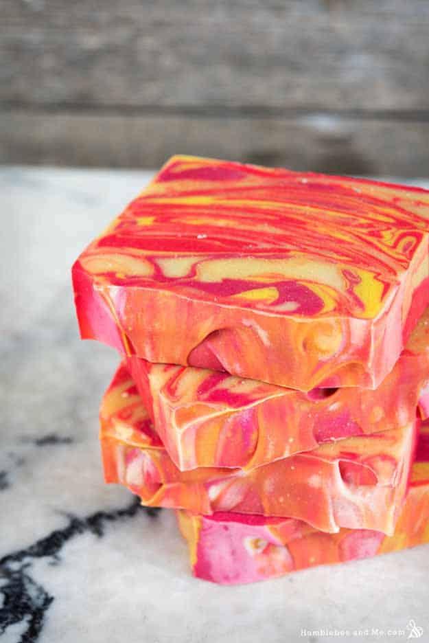 Citrus summer punch swirl soap