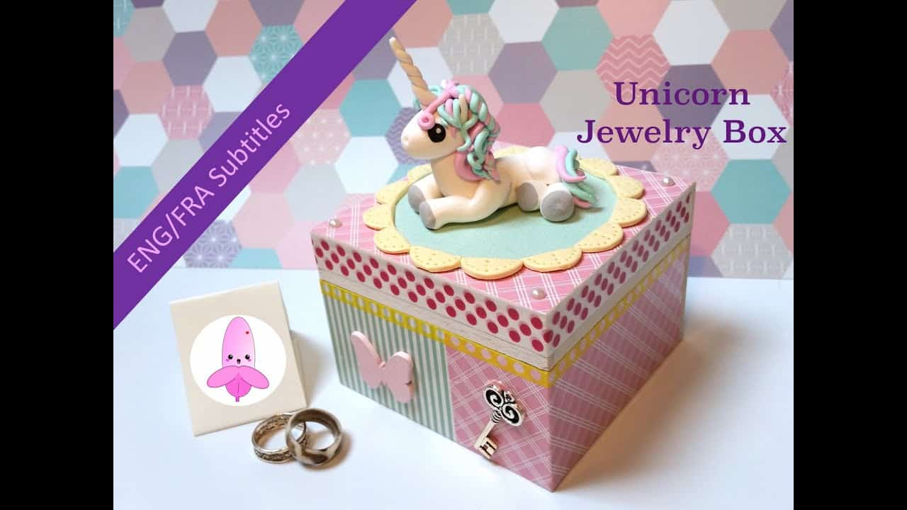 Clay unicorn jewelry box