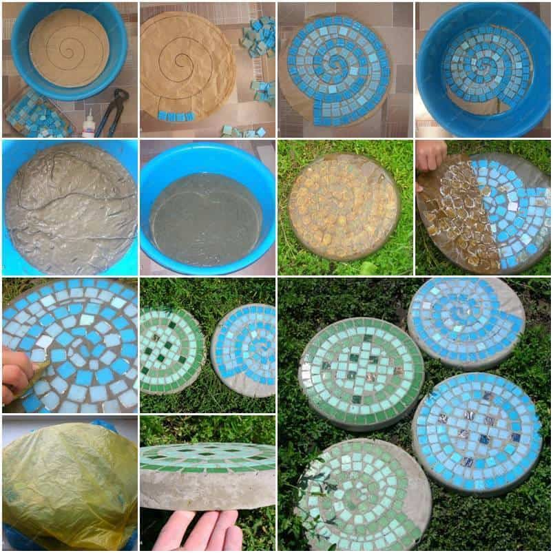 Coloured tile mosaic stepping stones
