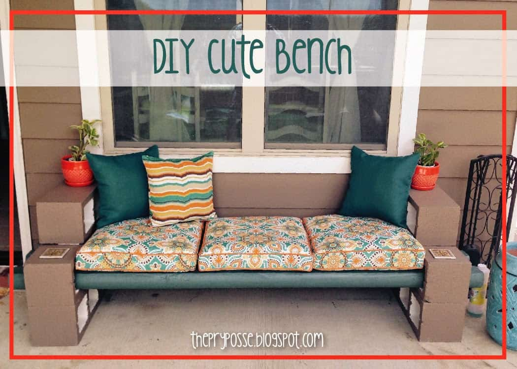 Concrete block and cushions bench