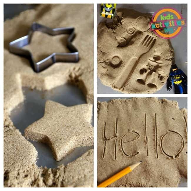 Cookie cutter kinetic sand play