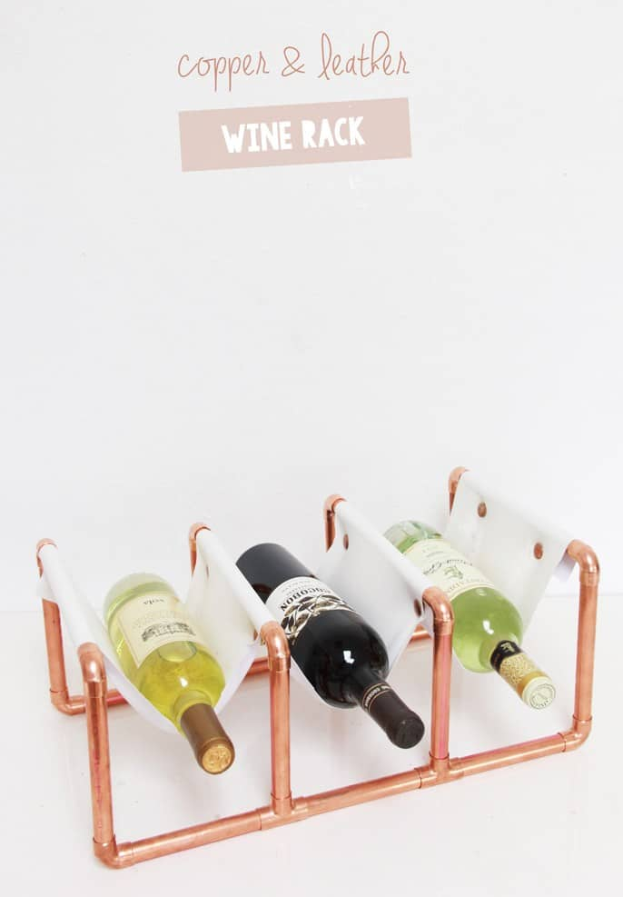 Copper pipe and leather wine rack