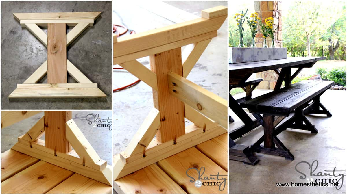 Cross braced farmhouse picnic table
